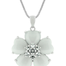 White Cat's Eye CZ Flower Pendant
