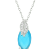 Leaf and Aqua Marquise Pendant